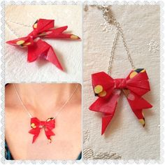 Origami Bow Necklace made in Washi paper  http://www.facebook.com/SaraLouiseHandmadeJewellery