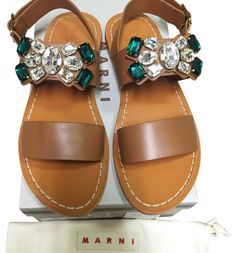 7380ee92c Marni Beige Caramel Crystal Jewelled Stones Flats Flat 37 Sandals Size US 7  Regular (M