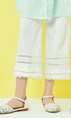 Pakistani Fashion Casual, Pakistani Outfits, Frock Fashion, Fashion Pants, Fashion Dresses, Capri Trousers, Trouser Pants, Salwar Pants, Anarkali Kurti