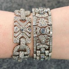 There's nothing like a classic #ArtDeco diamond bracelet. Which of these do you love the most? . Spotted at #SteveFishman at the #LasVegasAntiqueJewelryAndWatchShow. See more on DiamondsInTheLibrary.com! . #antiquejewelry #jewelrygram #diamondbracelet #br
