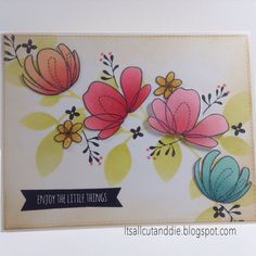 #SSSFAVE Lovely Spring and Spring Flowers stamp sets with the Leaves Stencil. Colored with Distress Inks.