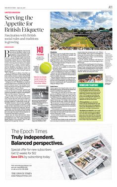 Serving the Appetite for British Etiquette|The Epoch Times #Tennis #newspaper #editorialdesign