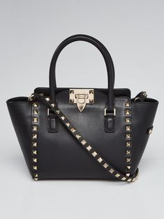 f4a84cb8a711 Valentino Black Leather Rockstud Micro Mini Tote Bag