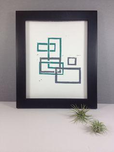 Geometric Rectangles Linocut Mid Century Modern by RetroModernArt