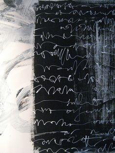 mondonoir:  Francesca Biasetton [x], Asemic Writing Tela N/ 06-08, acrylic on canvas, 2008