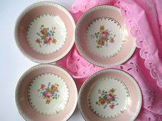 Pretty Vintage Homer Laughlin Pink Floral Dessert by thechinagirl