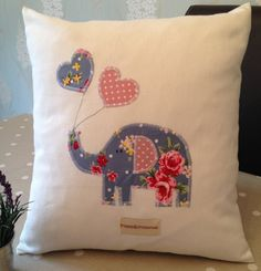 Hand made Children's Cushion/Pillow Cover with Elephant & Balloons Applique in Blue Vintage Shabby Chic Floral