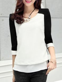 Buy Classical Round Neck Loose Fitting Patchwork Blouses online with cheap prices and discover fashion Blouses at Fashionmia.com.