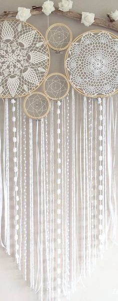 Dreamcatcher kits and custom orders Sydney – Australia - Home Decor Ideas! Doily Dream Catchers, Crochet Dreamcatcher, White Dreamcatcher, Diy And Crafts, Arts And Crafts, Crochet Doilies, Wind Chimes, Creations, Crafty