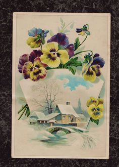 Pansies Extra Large Embossed Victorian Stock Trade Card Village Scene 8.5 x 5.75 #NA #VictorianTradeCard