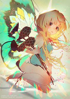Kai Fine Art is an art website, shows painting and illustration works all over the world. Kawaii Anime Girl, Anime Art Girl, Manga Art, Beautiful Anime Girl, Anime Love, Pretty Art, Cute Art, Anime Butterfly, Image Manga
