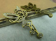 2pcs Antiqued Brass Filigree Rhinestone Angel  Charm  by ministore, $3.95