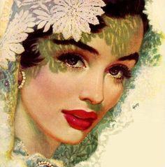 vintage art Edwin Georgi ~ Pin up painter Pin Up Vintage, Images Vintage, Vintage Posters, Vintage Art, Vintage Drawing, Vintage Beauty, Vintage Ladies, Pinup Art, Retro Kunst