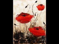 Impressionist Poppies Step by Step Acrylic Painting on Canvas for ...