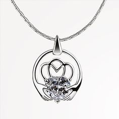 MOH565C Claddagh Pendant Clear - from Newbridge Silverware online store Ireland