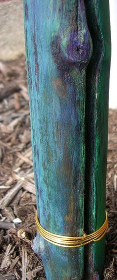 Painted Walking Stick - detail by Miso.Susanowa, via Flickr