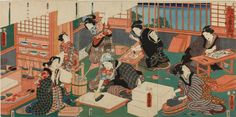 Artist:Utagawa Kunisada Title: Artisans (a group of women in a workshop producing woodblock prints), from the series A Parody of the Four Social Classes An example of Ukiyo-e - a Japanese wood-block print Pop Art, Impression Textile, Art Japonais, Japanese Prints, Japanese Design, Japan Art, Triptych, Woodblock Print, British Museum