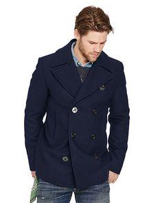 Wool-Blend Melton Pea Coat