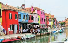 Burano in Venice Italy.  A PERFECT little island where every building is a different color and there is beautiful lace everywhere!  My trip to Italy 2014