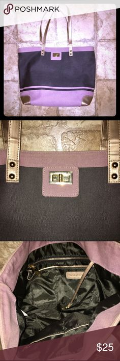 Thursday Friday Tote Dark gray/faded black, mauve, and gold tote from Thursday Friday. Excellent used condition. Faux leather accents. Gold hardware. Holds a lot of stuff! Let me know if you want the dimensions! Thursday Friday Bags Totes