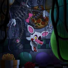"""They call it """"the mangle"""" (Heres the image without the filters) Fnaf 1, Anime Fnaf, Five Nights At Freddy's, Mangle Fanart, Fnaf Story, Foxy And Mangle, Halloween, Freddy 's, Fnaf Characters"""