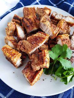 Sliced Pork Belly Recipe, Pork Belly Slices, Pork Belly Recipes, Pork Belly Crackling, Crackling Recipe, Macro Recipes, Macro Meals, Fried Pork Belly