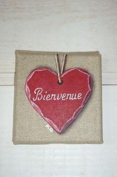 """Tableau Peinture Coeur rouge """"Bienvenue"""" (n°4) * : Peintures par kb-creations"""