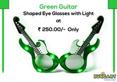 Green Guitar Shaped Eye Glasses With Light at Rs.250.00/- Exculivsely On Funcart-http://goo.gl/avzhZO #funcart #celebrateinstyle #partysupplies