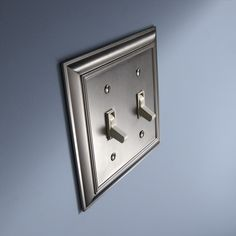 Shop allen + roth 2-Gang Satin Nickel Standard Toggle Metal Wall Plate at Lowes.com