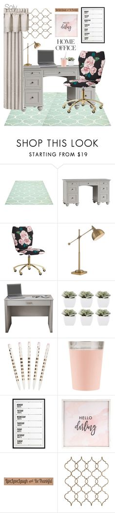"""Soly: cute home office"" by solyslstore ❤ liked on Polyvore featuring interior, interiors, interior design, home, home decor, interior decorating, PBteen, Lite Source, Abigail Ahern and Kate Spade"