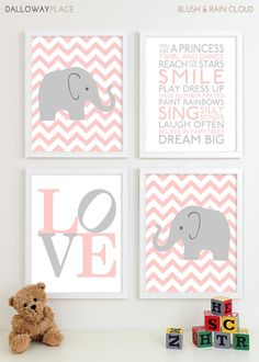 Baby Girl Nursery Art Chevron Elephant Nursery Prints, Kids Wall Art Baby Girls Room Baby Nursery Decor Playroom Rules Quote Art - Four 8x10