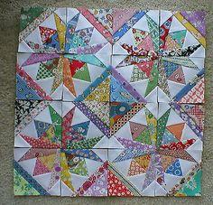 """16 Mini Quilt Blocks 3 1 2"""" ea Square Dance Aunt Grace 30s                             So pretty"""