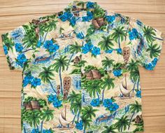 5f338b578 Mens Vintage 60s National Rayon Aloha Tiki Palm Shirt - XL - The Hana Shirt  Co