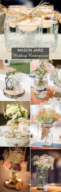 country rustic mason jars inspired wedding centerpieces ideas- Don't forget country themed personalized napkins for your big day! #country #rustic www.napkinspersonalized.com