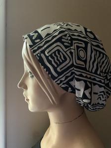 Flat front African Print scrub cap or scrub hat head cover