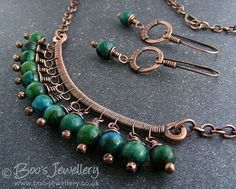 RESERVED Antiqued copper and blue green Chrysocolla wire wrapped necklace