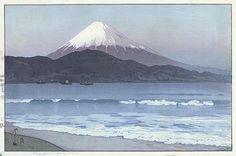Hiroshi Yoshida - Fuji from Miho Landscape Prints, Watercolor Landscape, Japanese Prints, Japanese Art, Japanese Folklore, Hiroshi Yoshida, Mont Fuji, Art Japonais, Taj Mahal