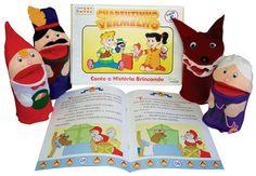 Conjunto de Fantoches e Livro da Chapéuzinho Vermelho