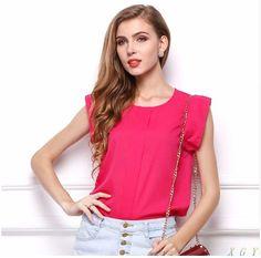 blusas blouse blusa women blouses tops cheap clothes china chiffon camisa ropa mujer new femininas short sleeve Chiffon Shirt, Chiffon Tops, Chiffon Blouses, Shirt Blouses, T Shirt, Shirt Sale, Ruffle Shorts, Ruffle Top, Ruffle Blouse
