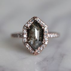 2.07 Carat Black Rose Cut Hexagon Diamond Engagement Ring, Fiona Setting, 14k Rose Gold