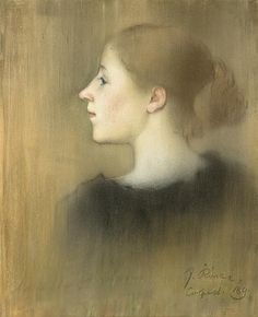 Rippl Profile of a Young Woman 1891 - Category:Pastels by József Rippl-Rónai - Wikimedia Commons Female Portrait, Female Art, Female Profile, Women Profile, Girls Dress Up, Green Eyes, Hats For Women, Young Women, Mona Lisa