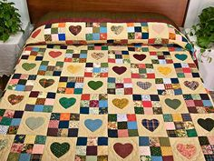 Dark Green Burgundy and Multicolor Hearts and Nine Patch Quilt Photo 1