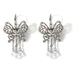 LOVE & ROCK BY LOREE RODKIN Crystal Silvertone Butterfly Dangle Earrings