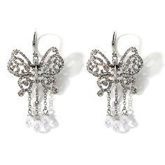 LOVE & ROCK BY LOREE RODKIN Crystal Silvertone Butterfly Dangle Earrings