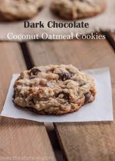 Easy, delicious and healthy Dark Chocolate Coconut Oatmeal Cookies recipe from SparkRecipes. See our top-rated recipes for Dark Chocolate Coconut Oatmeal Cookies. Oatmeal Coconut Cookies, Oatmeal Cookie Recipes, Delicious Desserts, Dessert Recipes, Yummy Food, Coconut Desserts, Think Food, Love Food, Biscuits