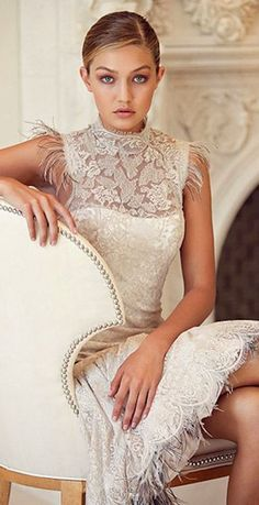 Gigi Hadid in a beautiful lace dress perfect for a Bridal Shower or Wedding Rehearsal. Beauty And Fashion, White Fashion, Pearl Cream, Glamour, A Boutique, Taupe, Wedding Inspiration, Classy, Victoria