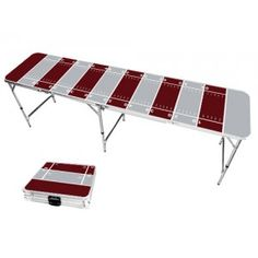 Gray & Burgundy Football Field 8 Foot Portable Folding Tailgate Beer Pong Table from TailgateGiant.com