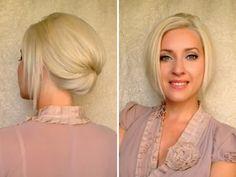 ▶ Short hair updo for work office job interview Elegant hairstyle for medium long shoulder length hair - YouTube