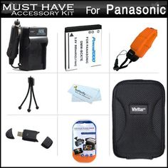 Must Have Accessory Kit For Panasonic Lumix DMC-TS25, DMC-TS20 WaterProof Digital Camera Includes Extended Replacement (900 maH) DMW-BCK7 Battery + Ac/Dc Travel Charger + Floating Strap + USB 2.0 Card Reader + Deluxe Case + Mini Tabletop Tripod