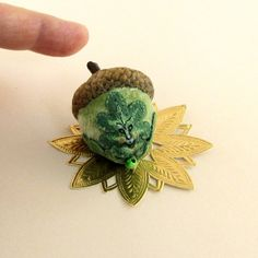 2014 OOAK Janie Comito Green Man Oak Leaves  Acorn Emery ~ Hand painted faces